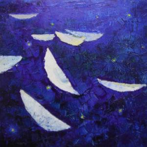 Night boats - 60x60cm