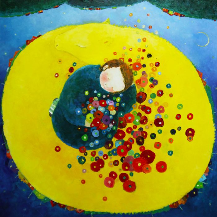 Dream with the yellow dragon - 100x100 cm