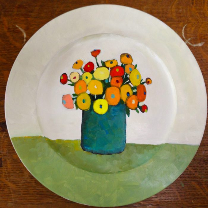 bouquet jaune assiete