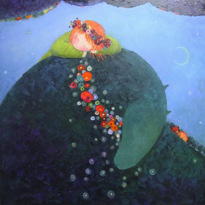 Dream with the green dragon - 100x100 cm - 2013