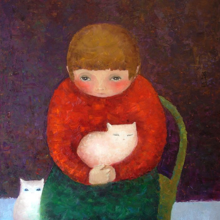 Nicu and cats - 100x100 cm - 2009